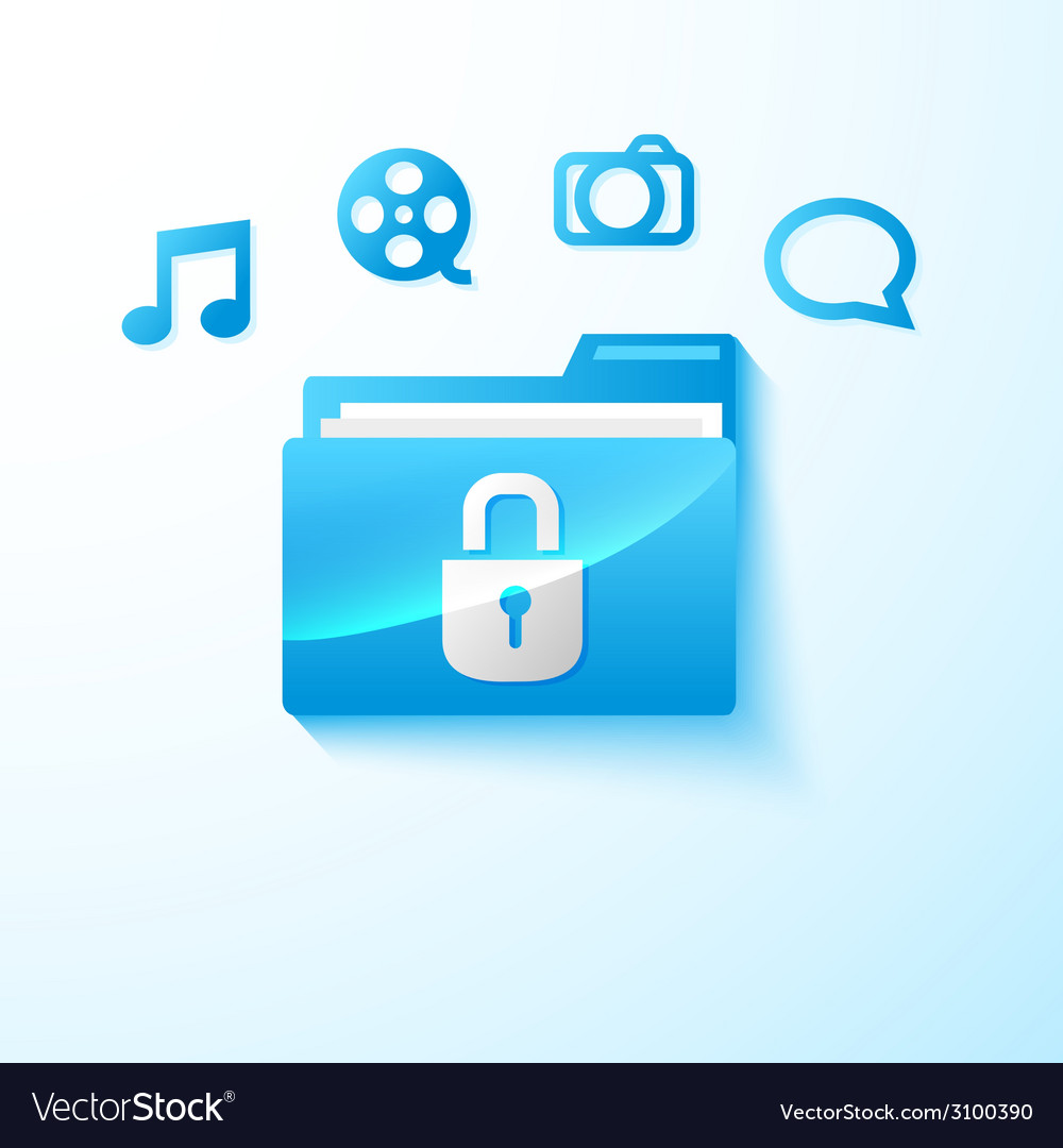 Secure multimedia folder vector | Price: 1 Credit (USD $1)