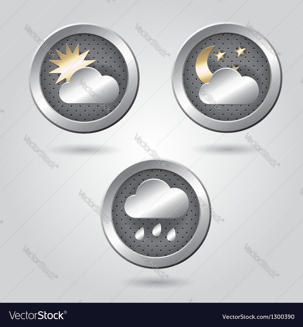 Set of stylish weather icon buttons for web vector | Price: 1 Credit (USD $1)