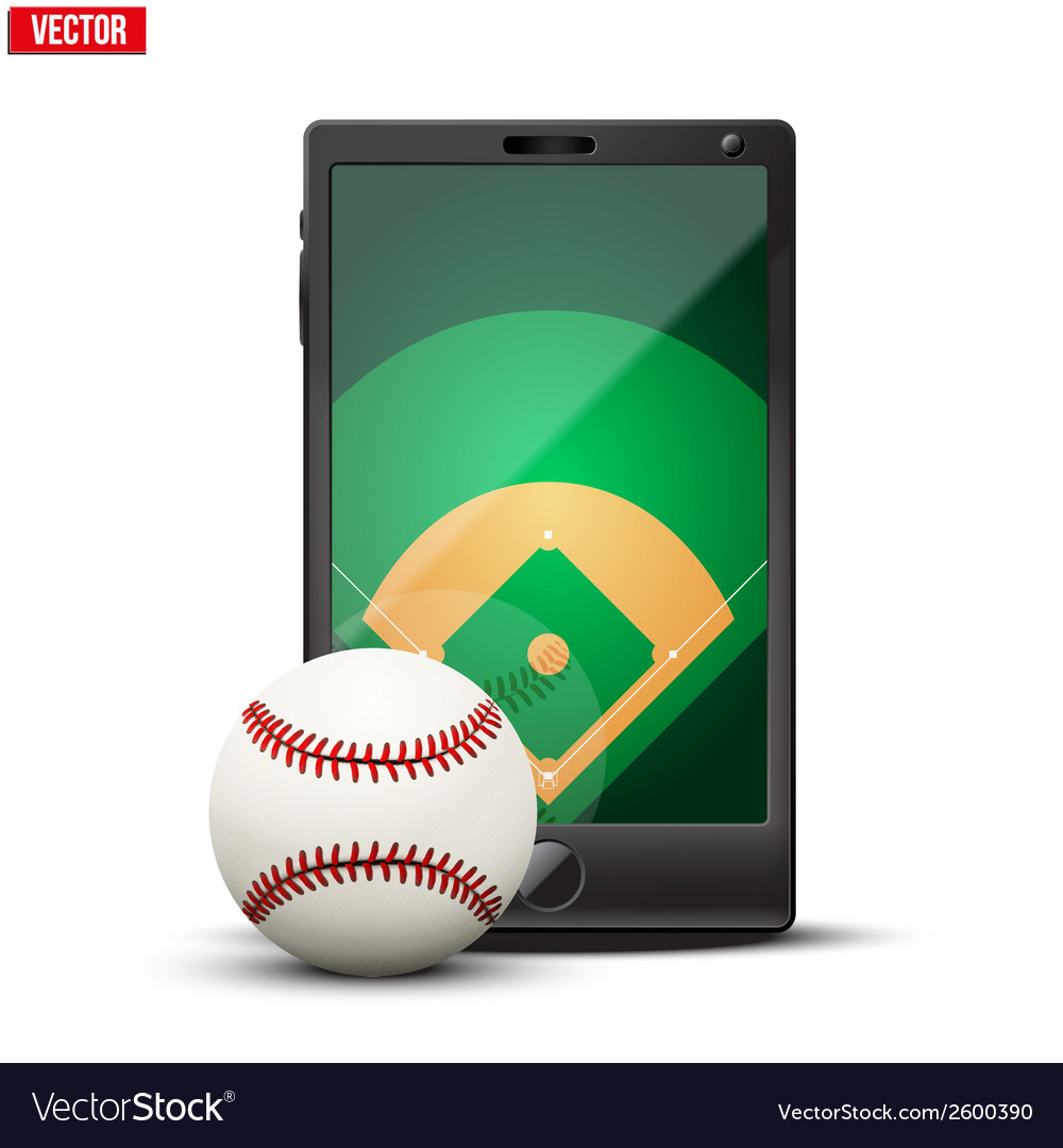 Smartphone with baseball ball and field on the vector | Price: 1 Credit (USD $1)