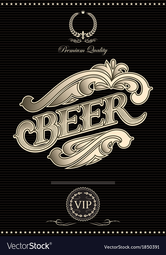 Black template for the cover of beer menu vector | Price: 1 Credit (USD $1)