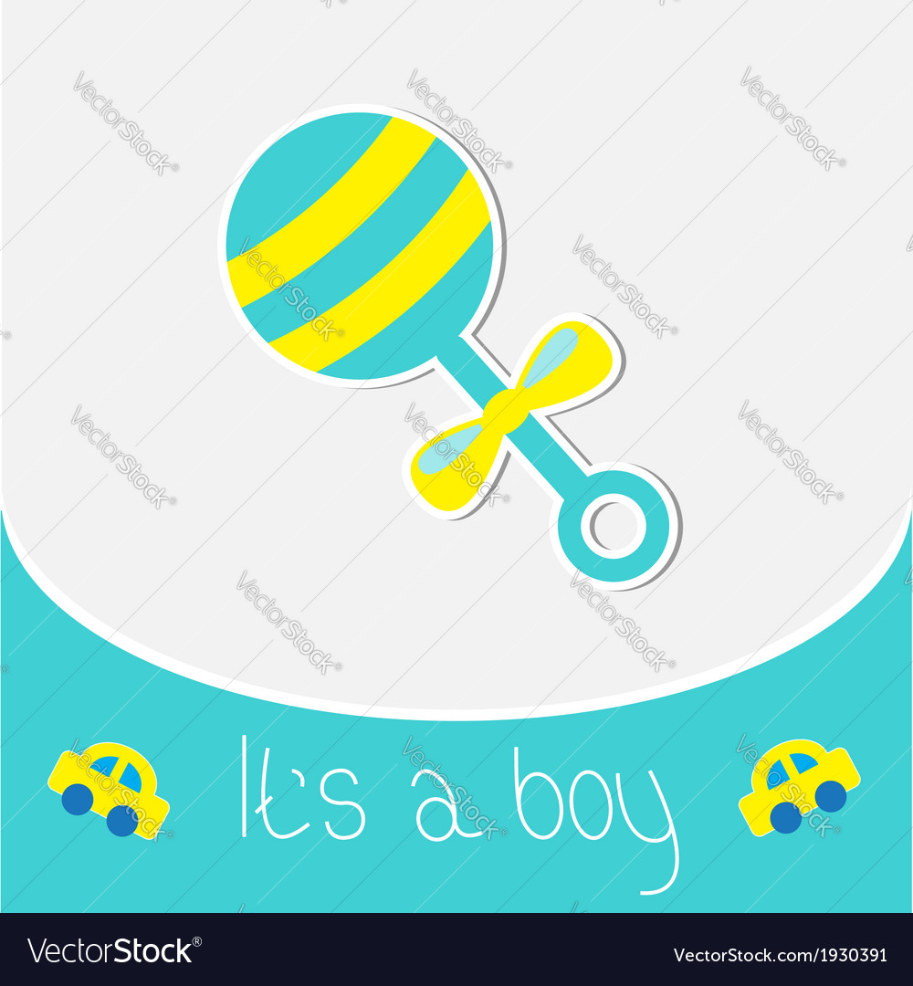 Blue rattle baby boy shower card vector | Price: 1 Credit (USD $1)