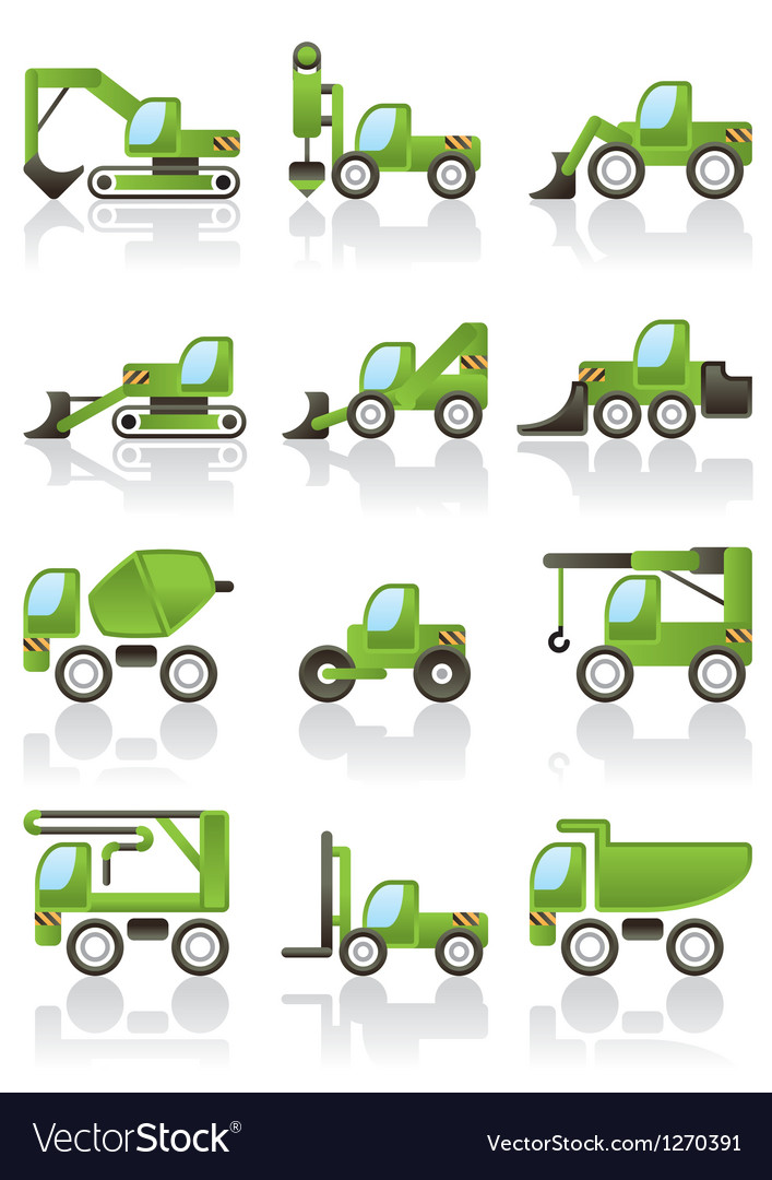 Building vehicles icons set vector | Price: 3 Credit (USD $3)