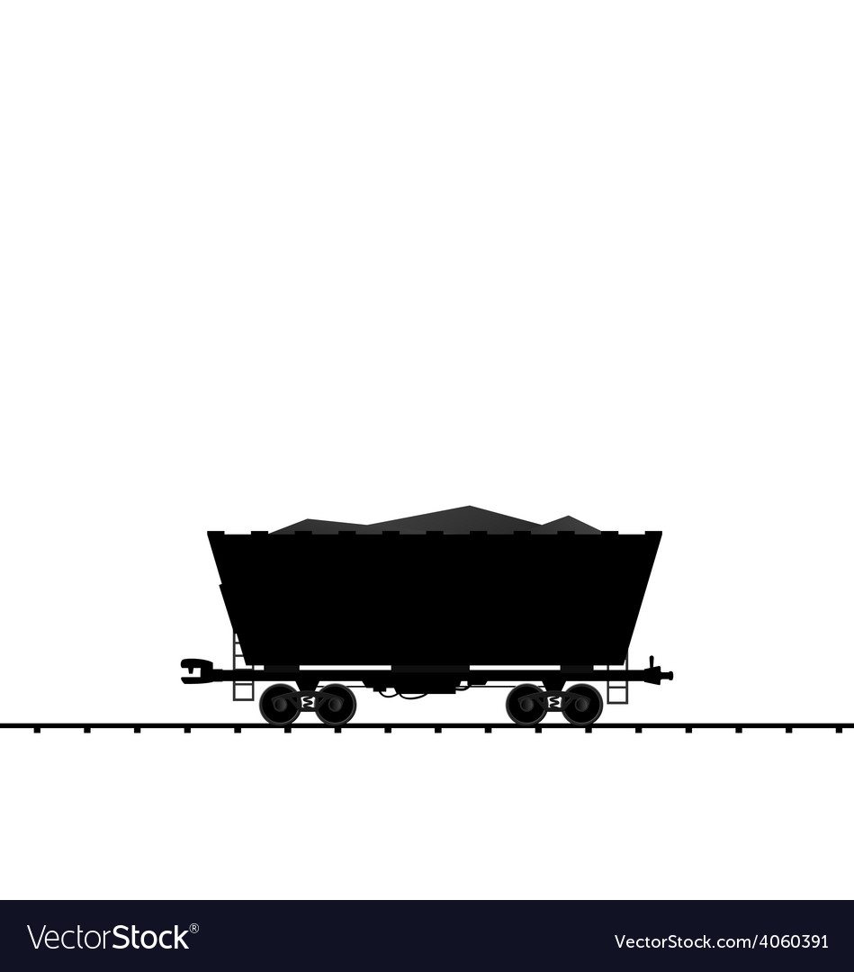 Cargo coal wagon freight railroad train black tran vector | Price: 1 Credit (USD $1)