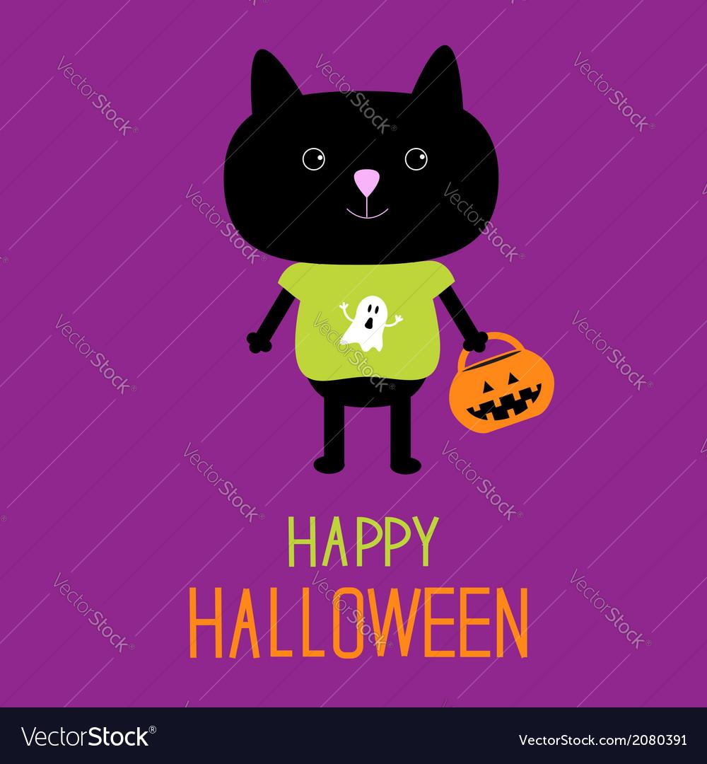 Cat with halloween trick or treat pumpkin bucket vector   Price: 1 Credit (USD $1)