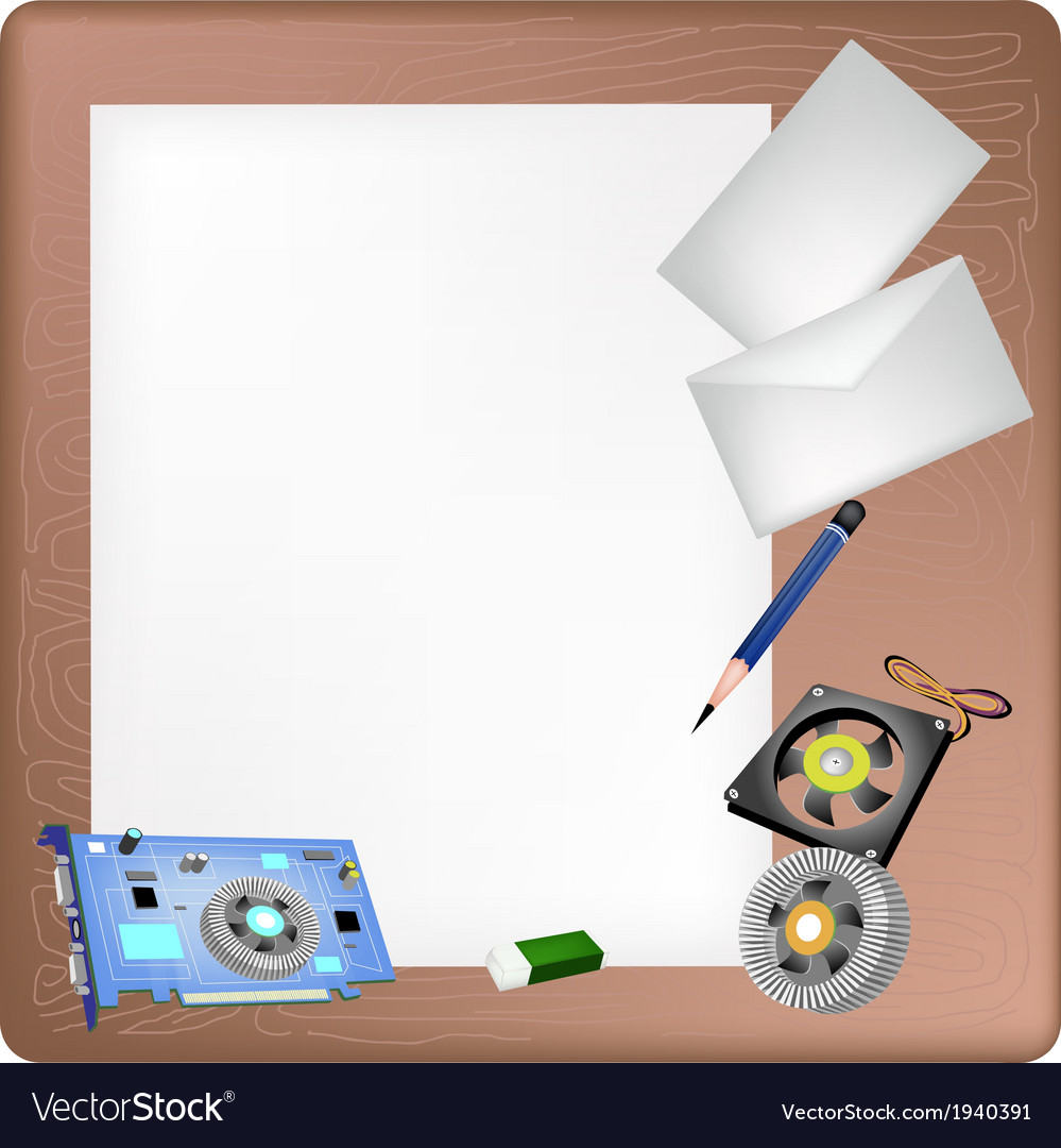 Computer hardware on a blank page and envelope vector | Price: 1 Credit (USD $1)