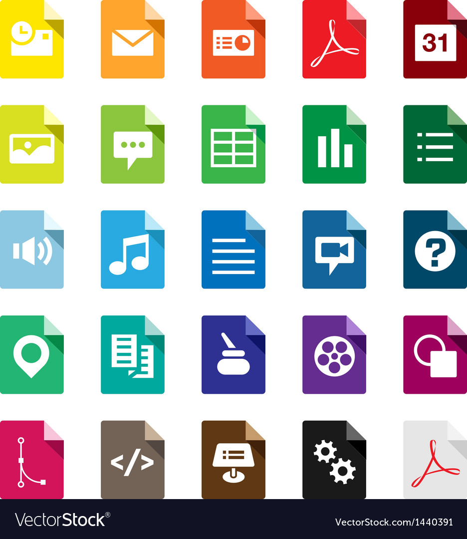 Document file types vector | Price: 1 Credit (USD $1)