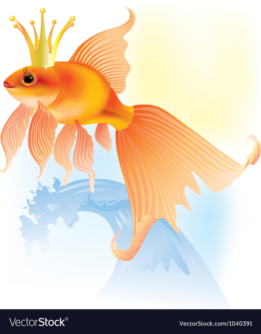 Goldfish in the crown vector | Price: 1 Credit (USD $1)