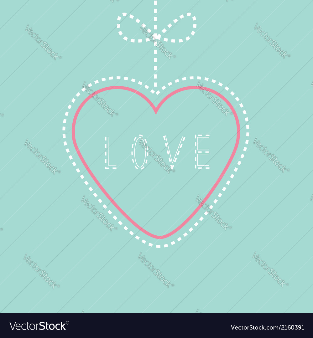 Hanging pink and blue heart with bow love card vector | Price: 1 Credit (USD $1)