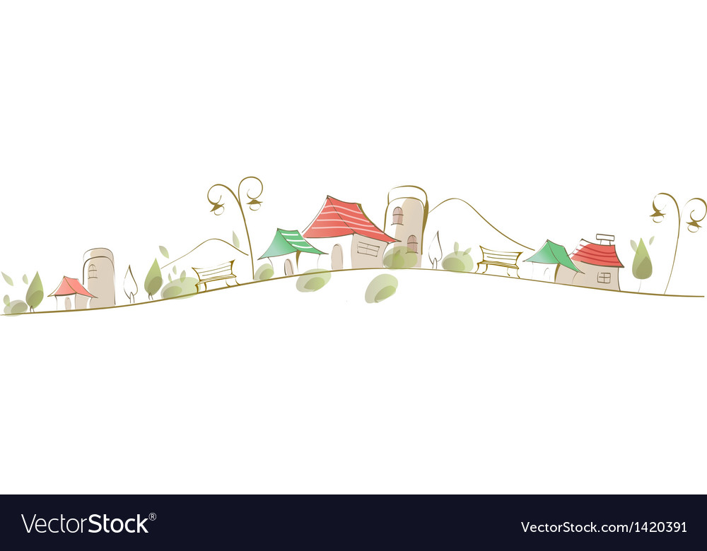 Houses on landscape vector | Price: 1 Credit (USD $1)