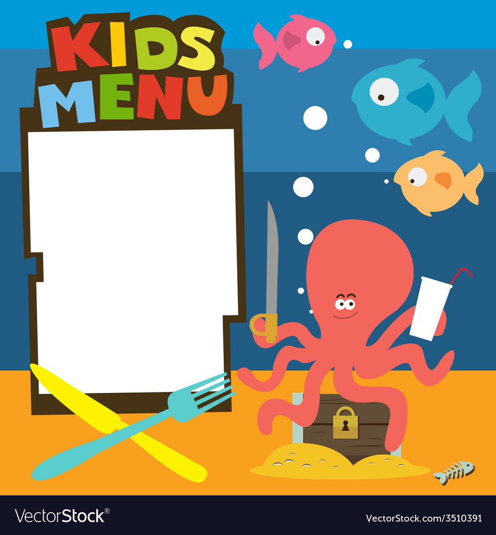 Kids menu with treasures theme vector | Price: 1 Credit (USD $1)