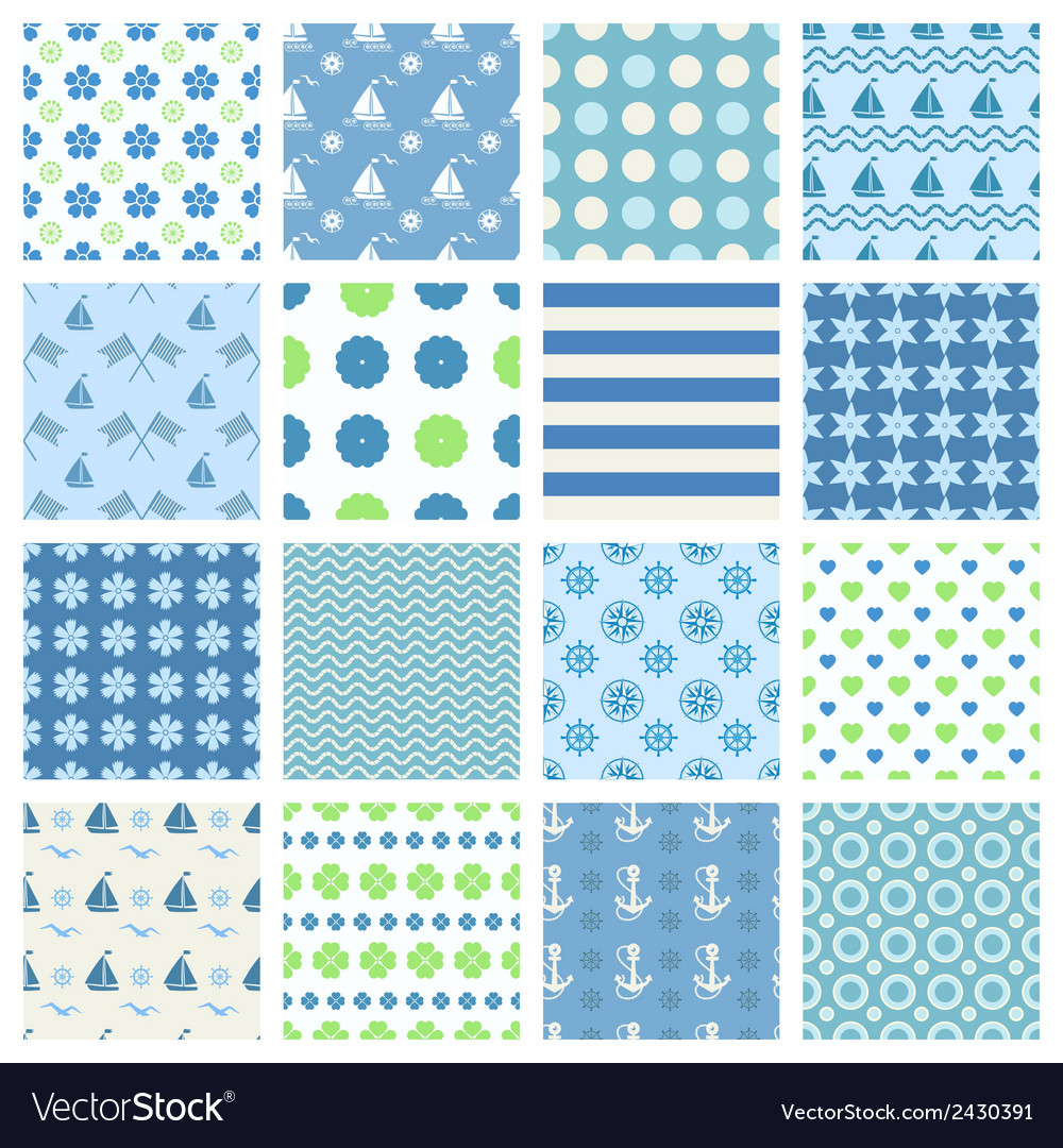 Marine seamless patterns vector | Price: 1 Credit (USD $1)