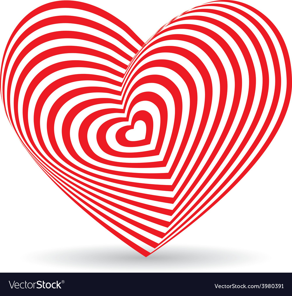 Red heart on a white background optical of 3d vector | Price: 1 Credit (USD $1)
