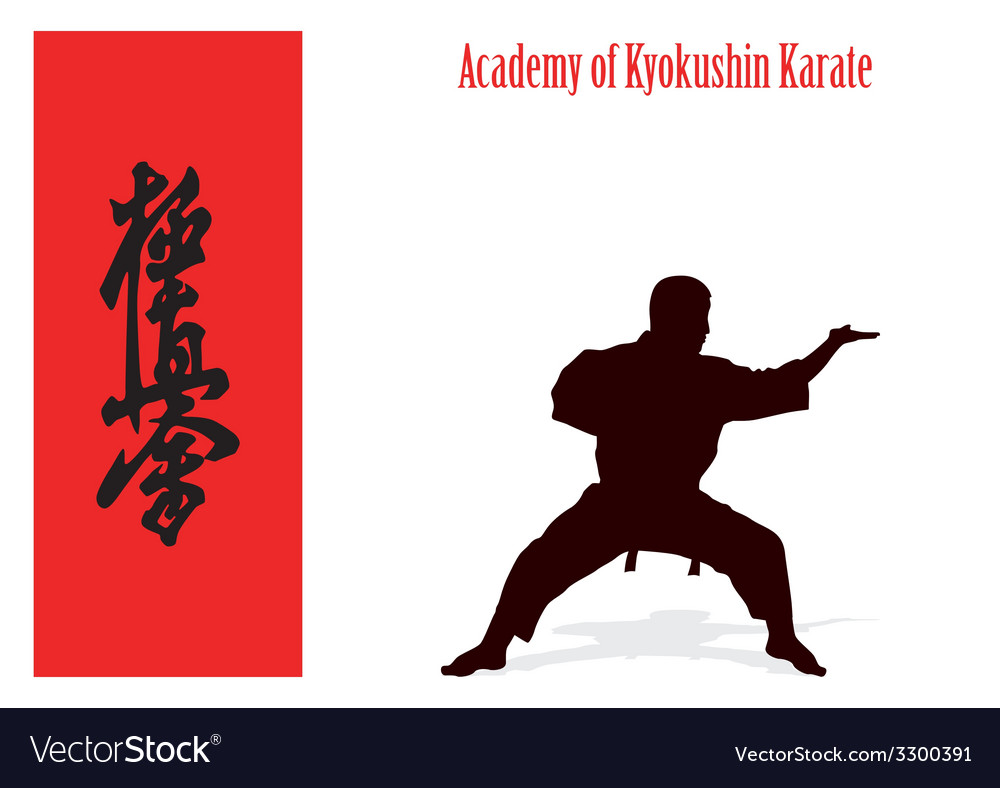 Silhouette of the man of engaged karate on a white vector | Price: 1 Credit (USD $1)
