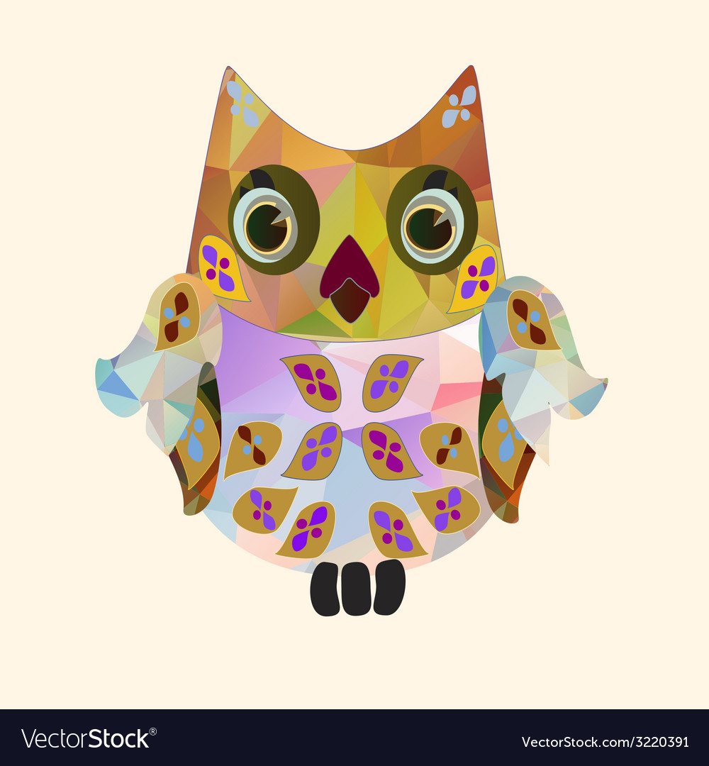 Small polygonal owl vector | Price: 1 Credit (USD $1)