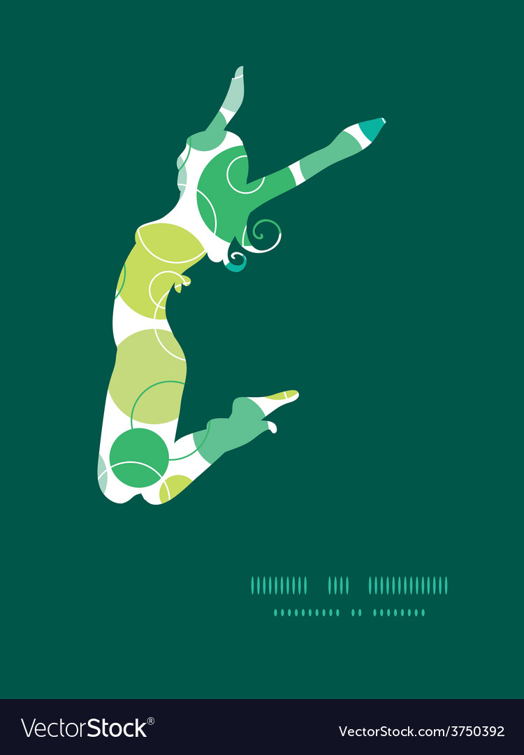 Abstract green circles jumping girl vector | Price: 1 Credit (USD $1)