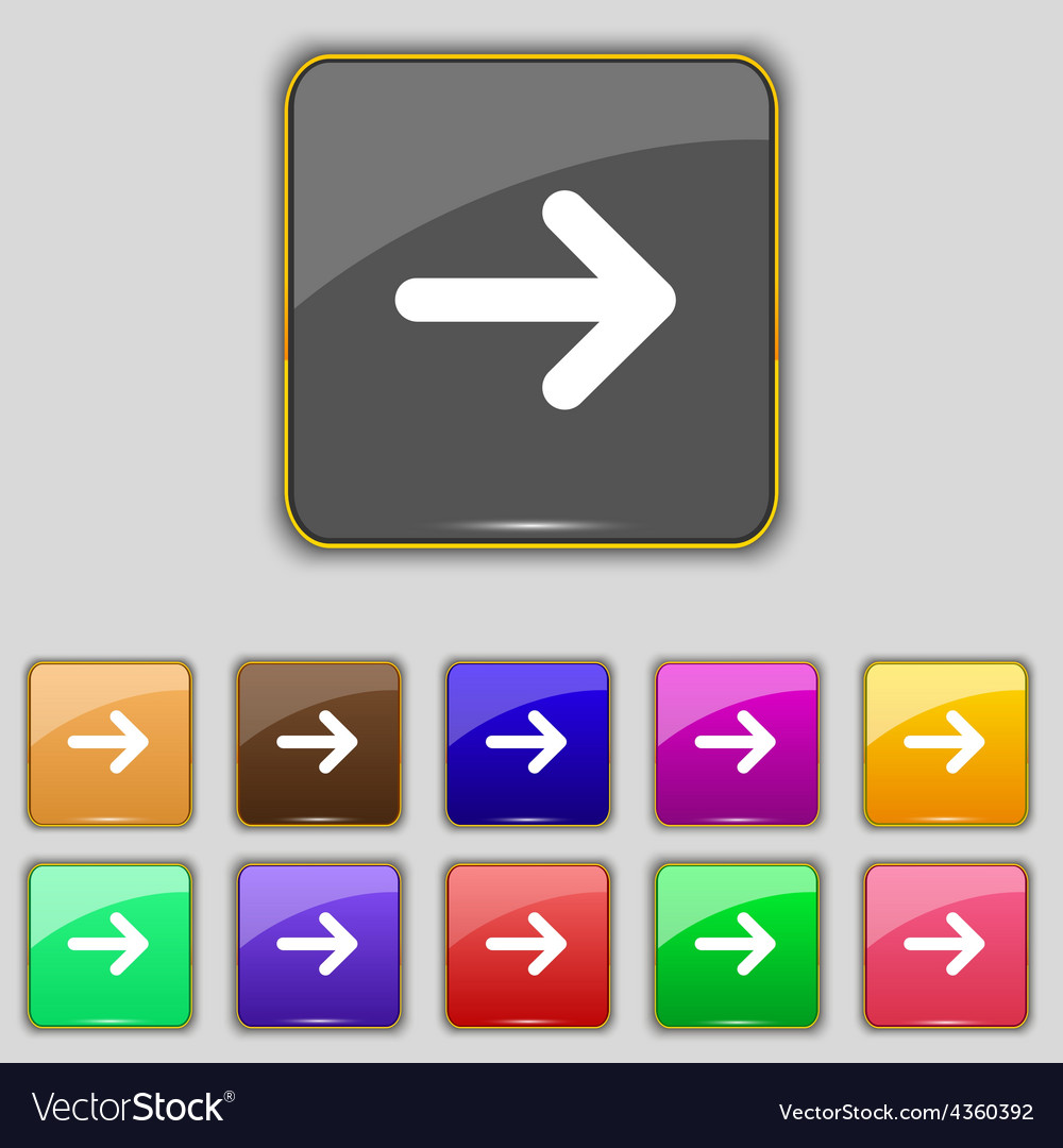 Arrow right next icon sign set with eleven colored vector | Price: 1 Credit (USD $1)