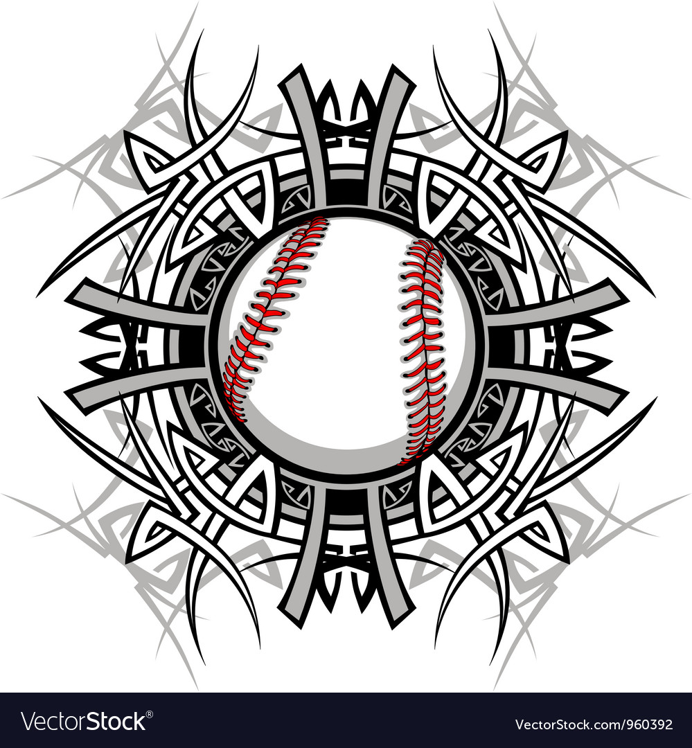 Baseball softball tribal graphic image vector | Price: 1 Credit (USD $1)