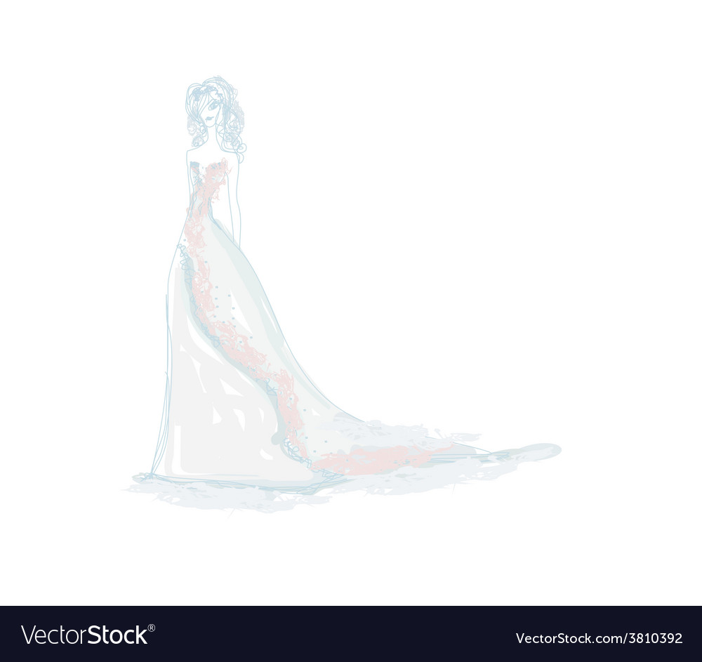 Beautiful bride doodle vector | Price: 1 Credit (USD $1)