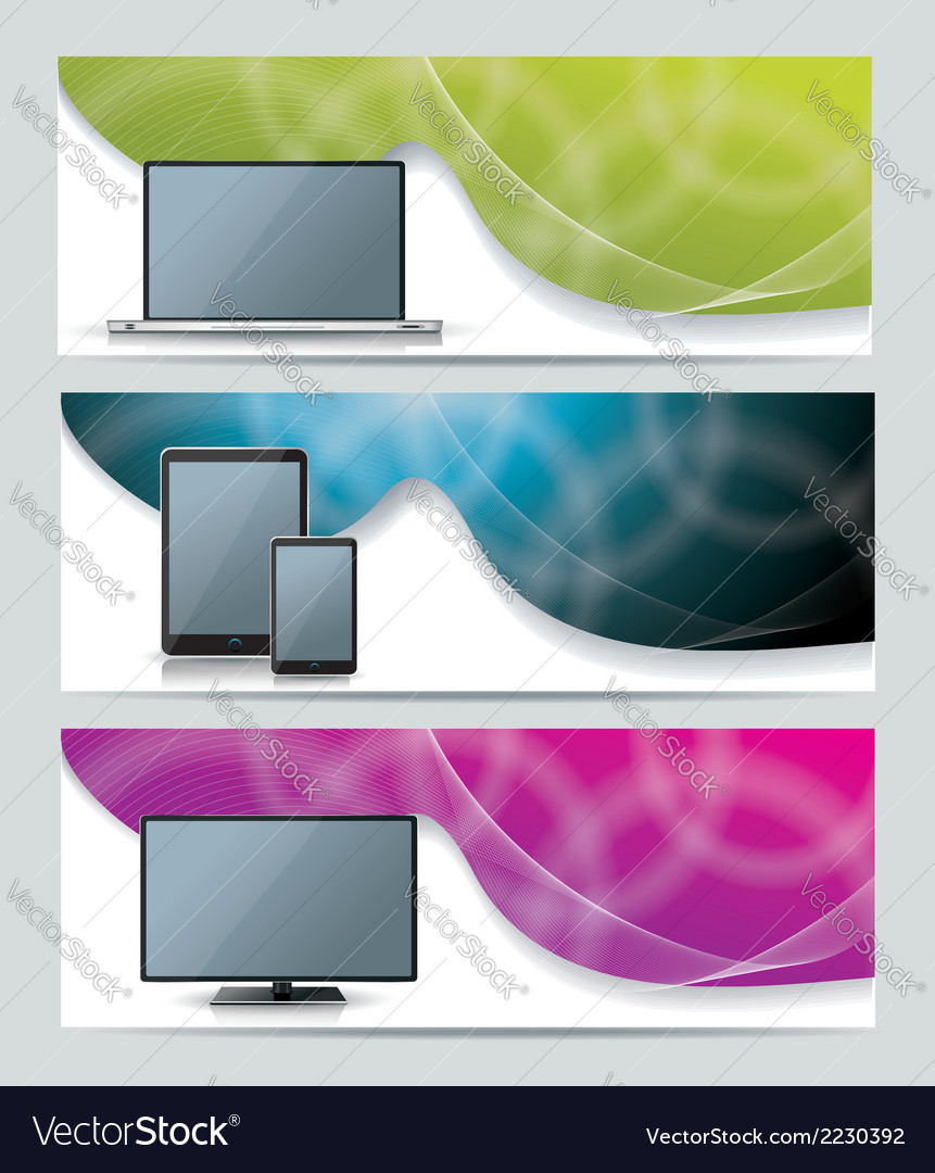 Collection banner design with smart phone tablet vector | Price: 1 Credit (USD $1)