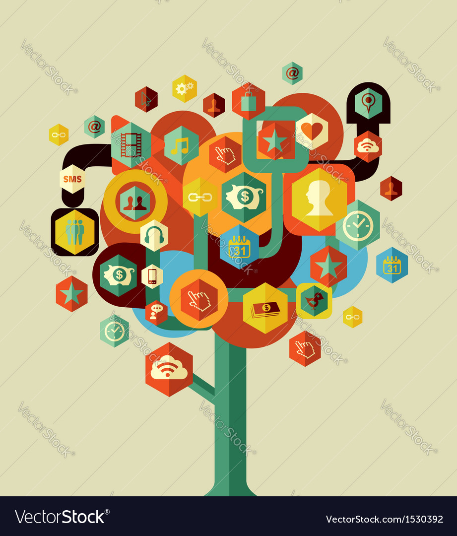 Colorful social network tree vector | Price: 1 Credit (USD $1)
