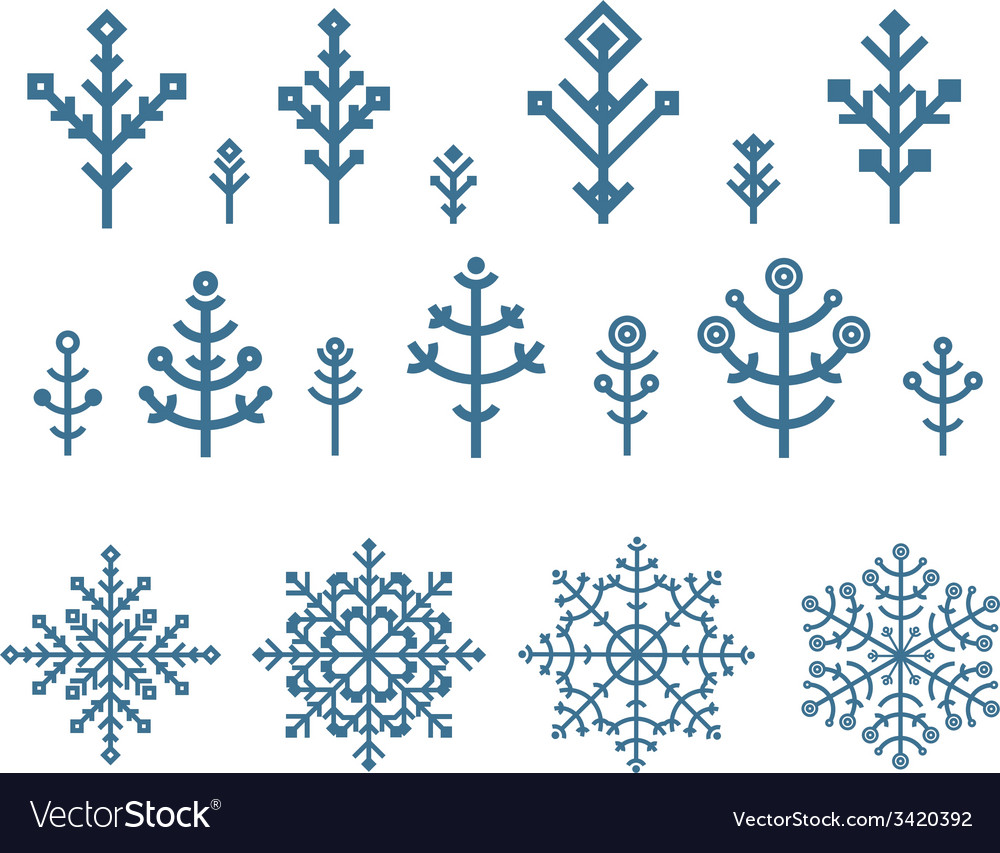 Different snowflake elements set design template vector | Price: 1 Credit (USD $1)