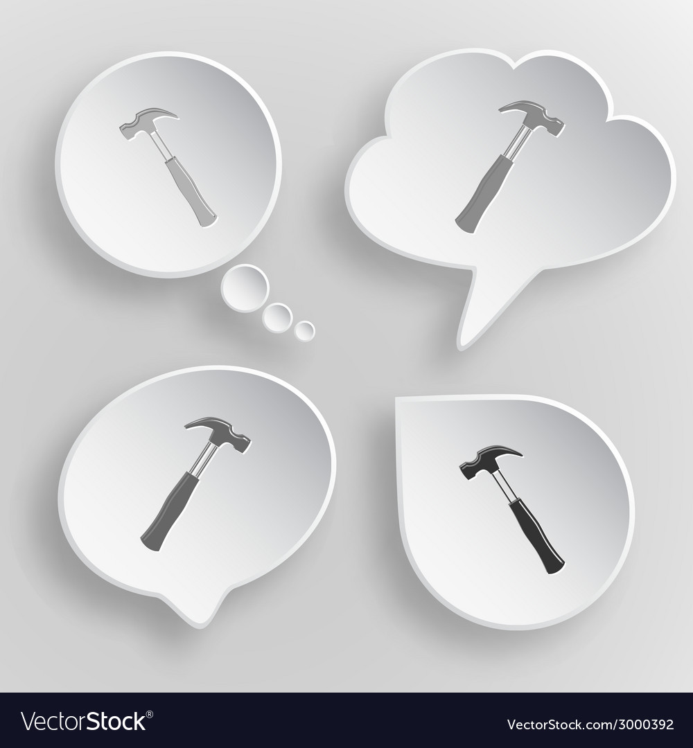 Hammer white flat buttons on gray background vector | Price: 1 Credit (USD $1)