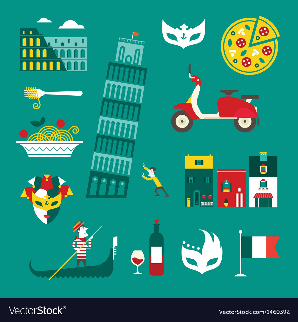 Italy icons vector | Price: 3 Credit (USD $3)