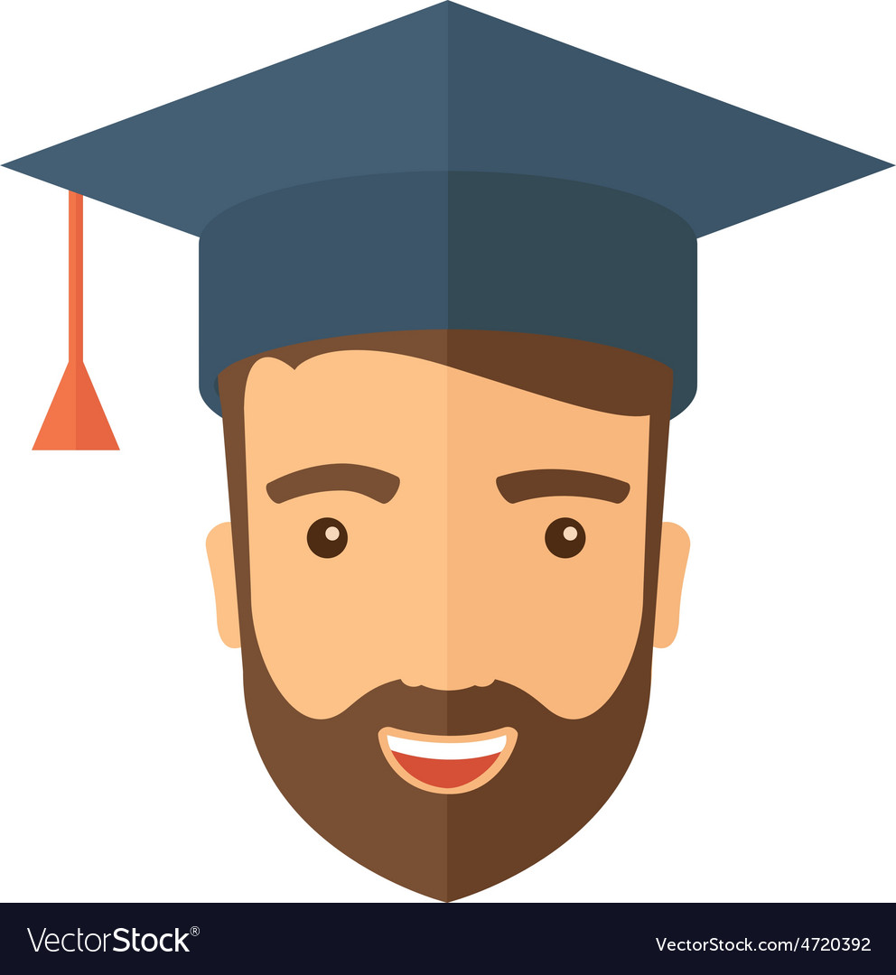 Male head with graduation cap vector | Price: 1 Credit (USD $1)