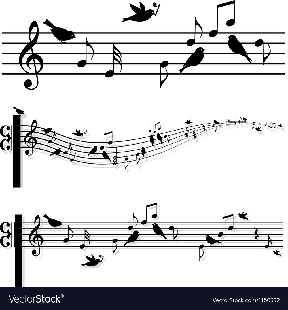 Music notes with birds vector | Price: 1 Credit (USD $1)