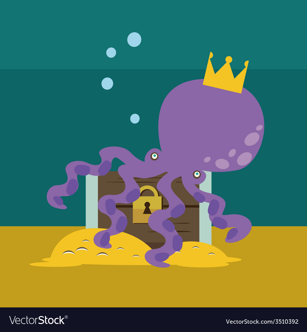 Octopus with chest with gold vector | Price: 1 Credit (USD $1)