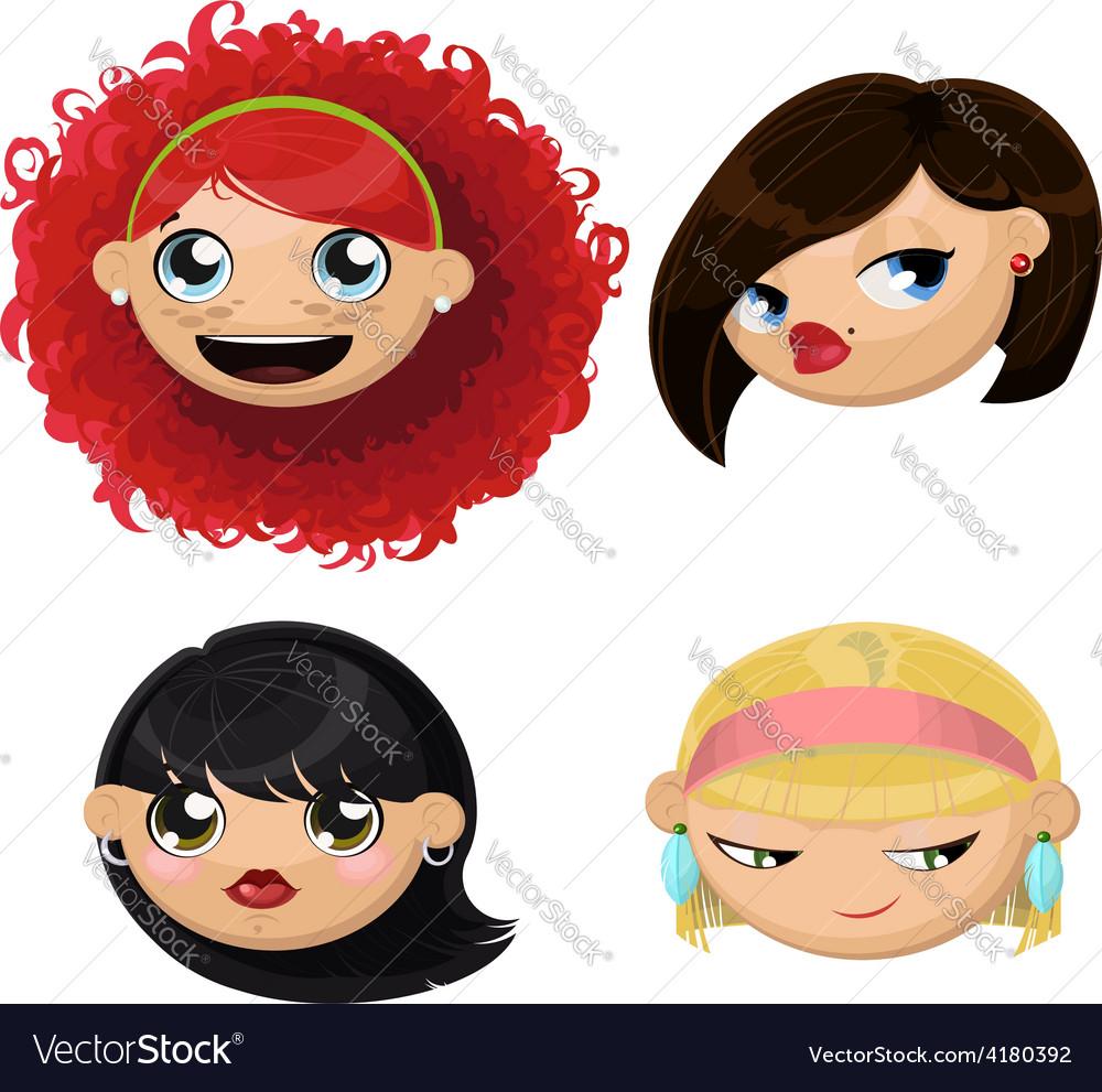 Set of 4 cartoon female heads vector   Price: 1 Credit (USD $1)