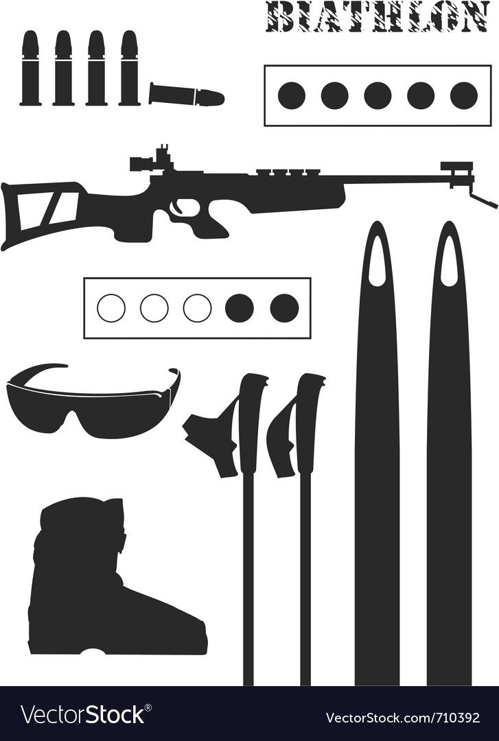 Set of biathlon equipment vector | Price: 1 Credit (USD $1)
