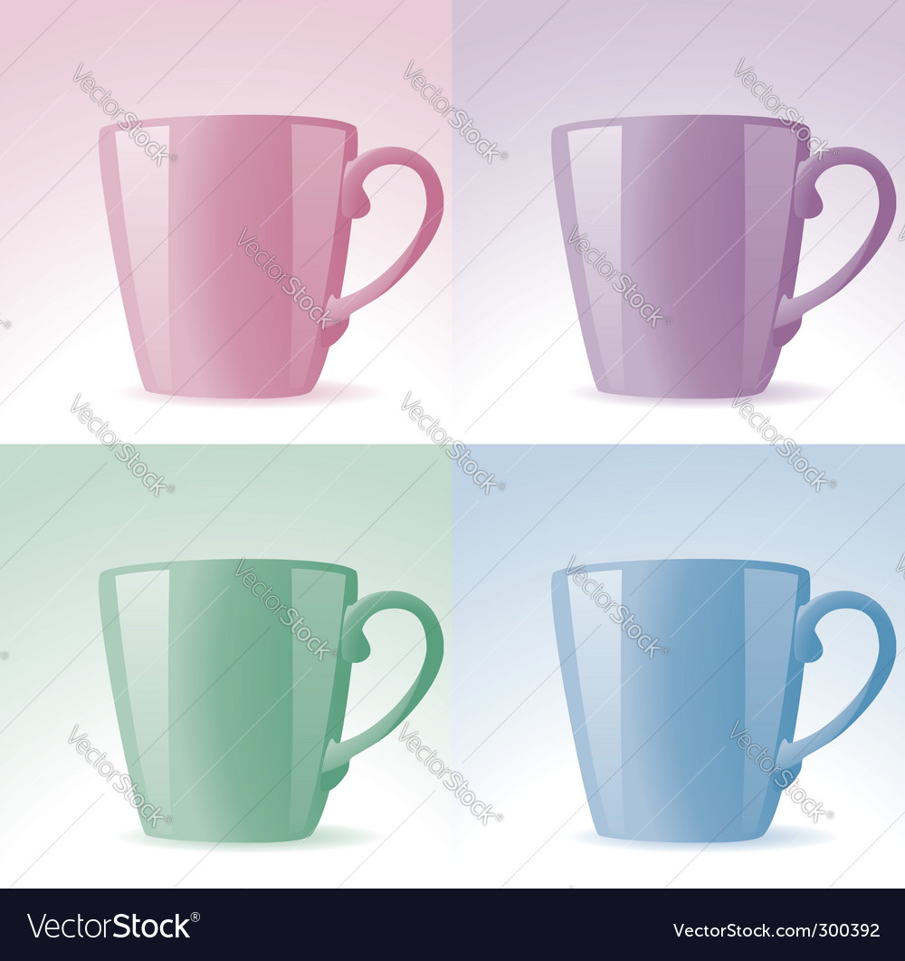 Set of colorful cups vector | Price: 1 Credit (USD $1)
