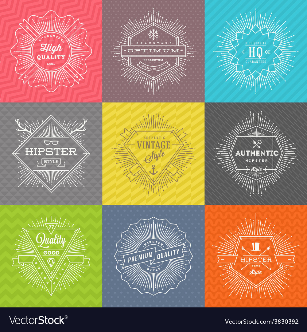 Set of line signs and emblems with hipster symbols vector | Price: 1 Credit (USD $1)