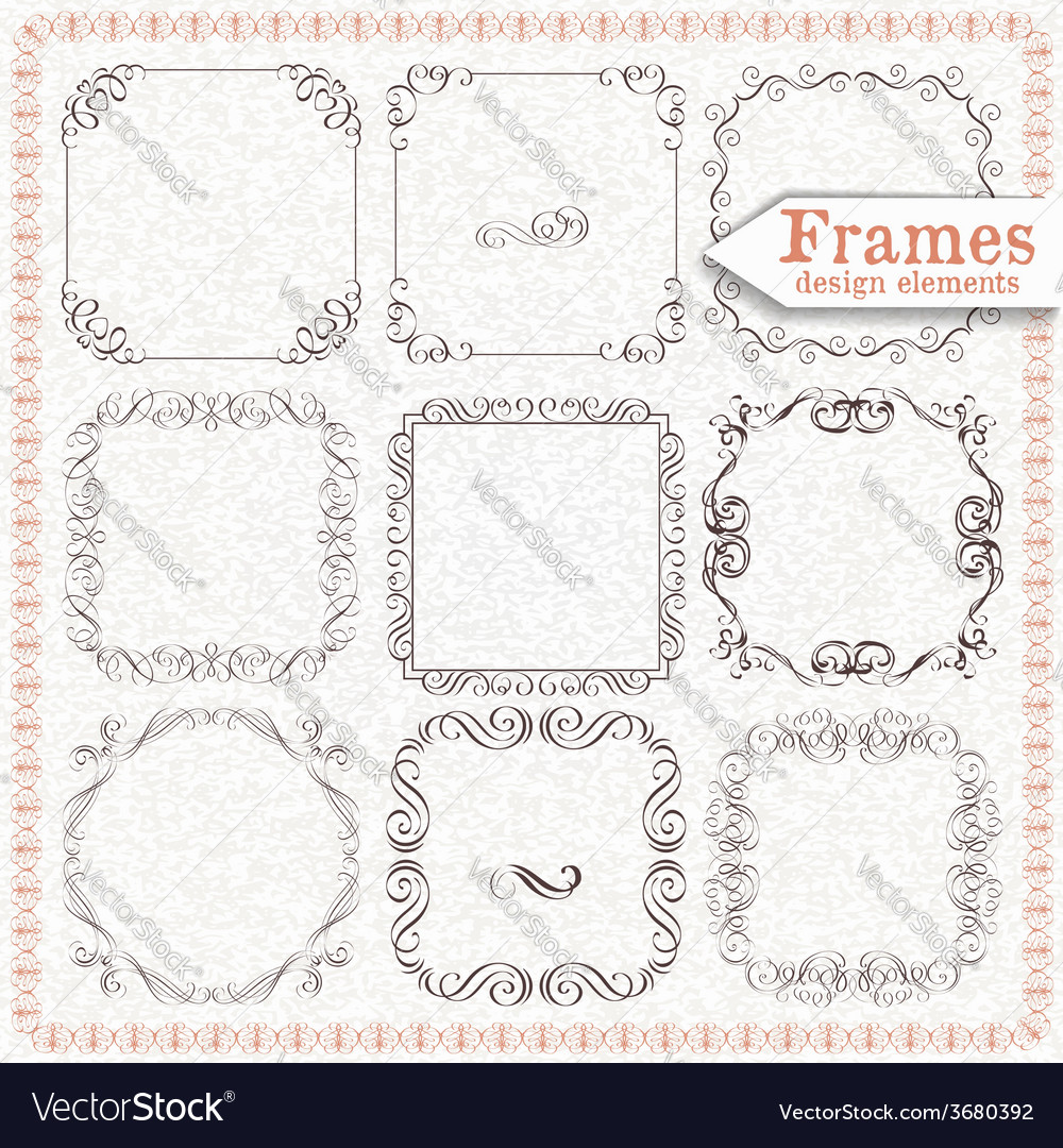 Set ornate vintage frames vector | Price: 1 Credit (USD $1)