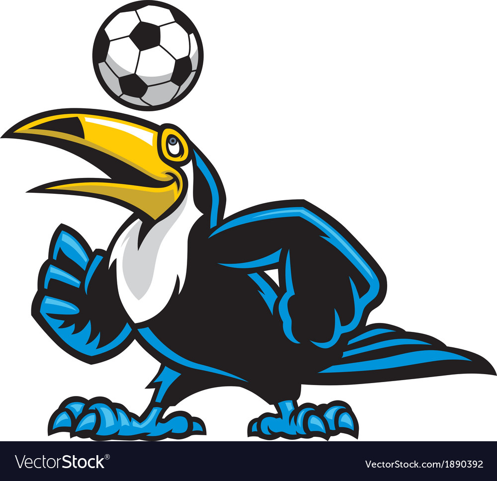 Toucan bird play soccer vector | Price: 3 Credit (USD $3)