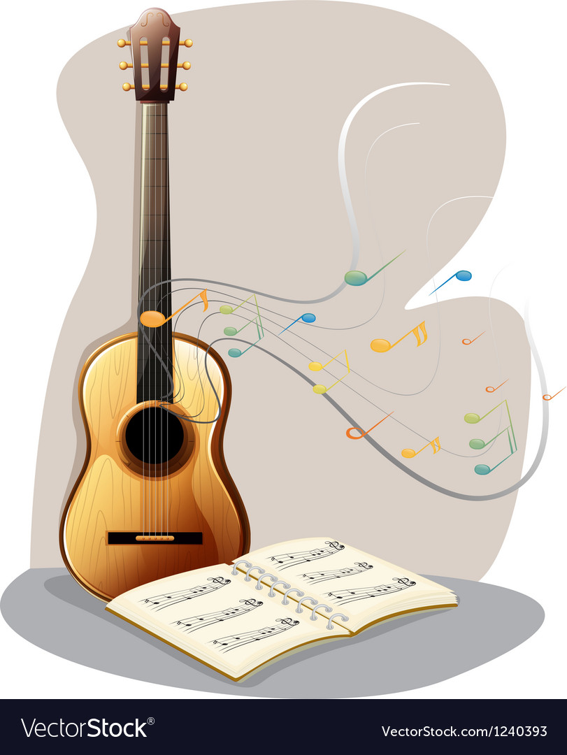 A guitar with a musical book vector | Price: 1 Credit (USD $1)
