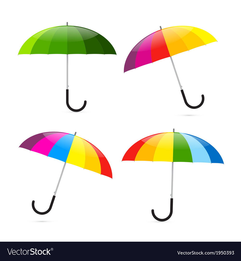 Colorful umbrellas set vector | Price: 1 Credit (USD $1)
