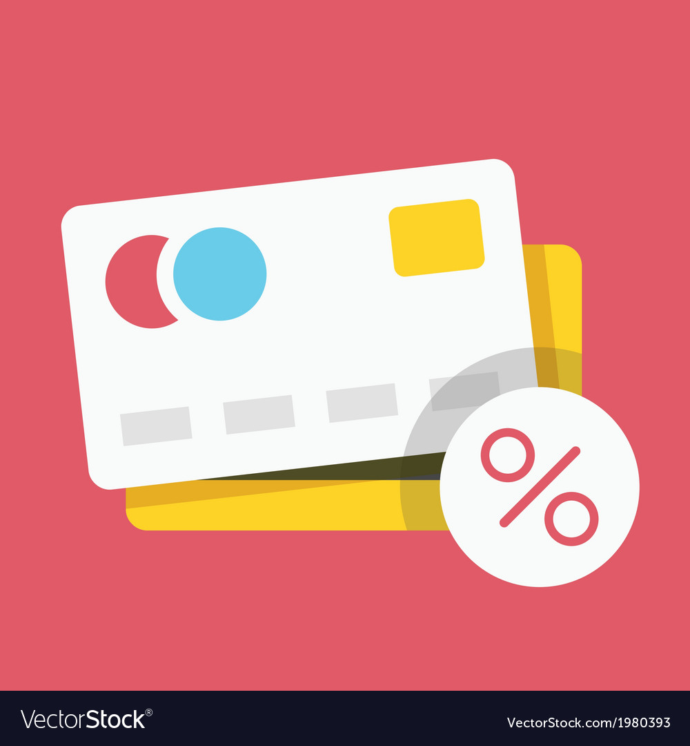 Credit card and percent sign icon vector | Price: 1 Credit (USD $1)