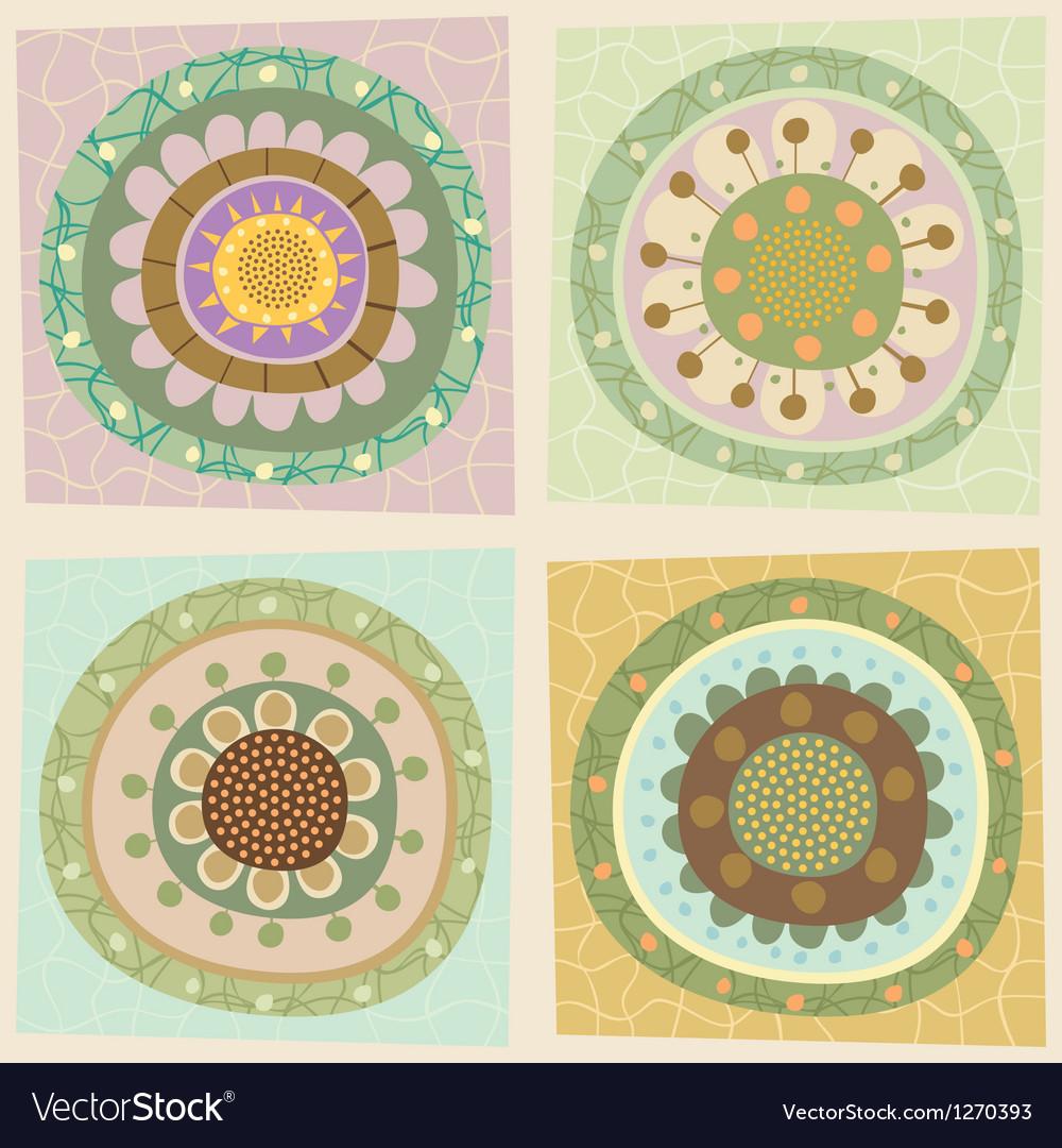 Decorative floral tiles vector | Price: 1 Credit (USD $1)