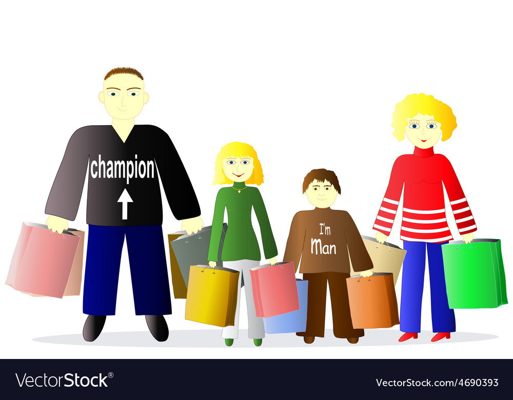 Family with shopping vector | Price: 1 Credit (USD $1)