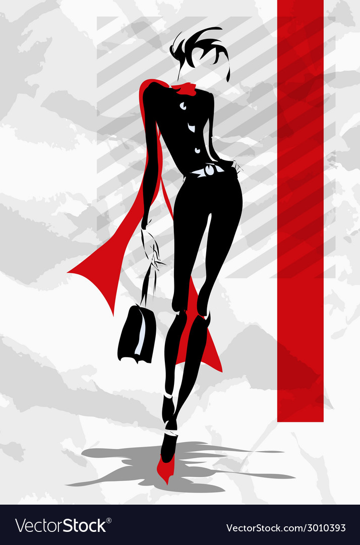 The fashionable woman goes down the street vector | Price: 1 Credit (USD $1)