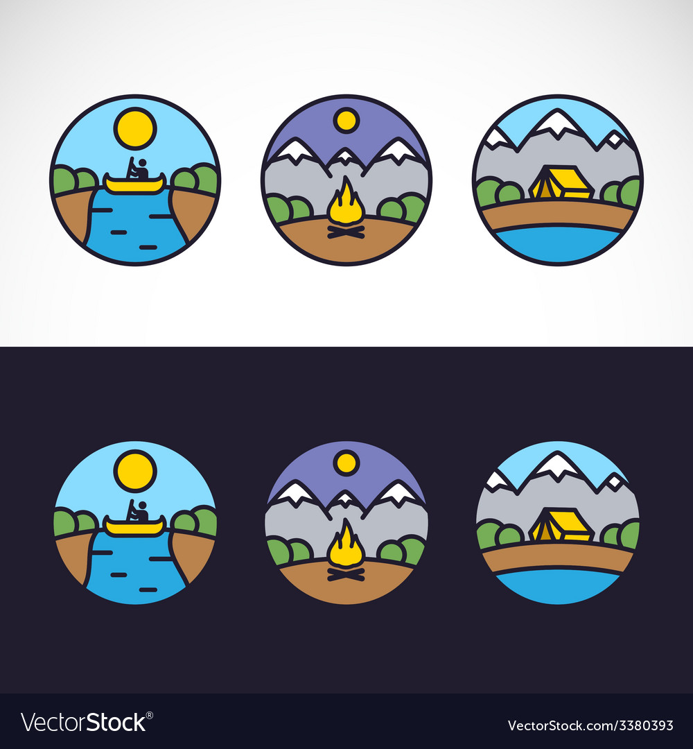 Outdoor sports landscape nature logo template set vector | Price: 1 Credit (USD $1)