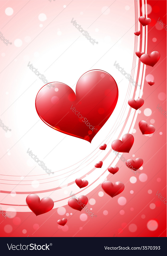 Valentine card with glossy heart vector   Price: 1 Credit (USD $1)