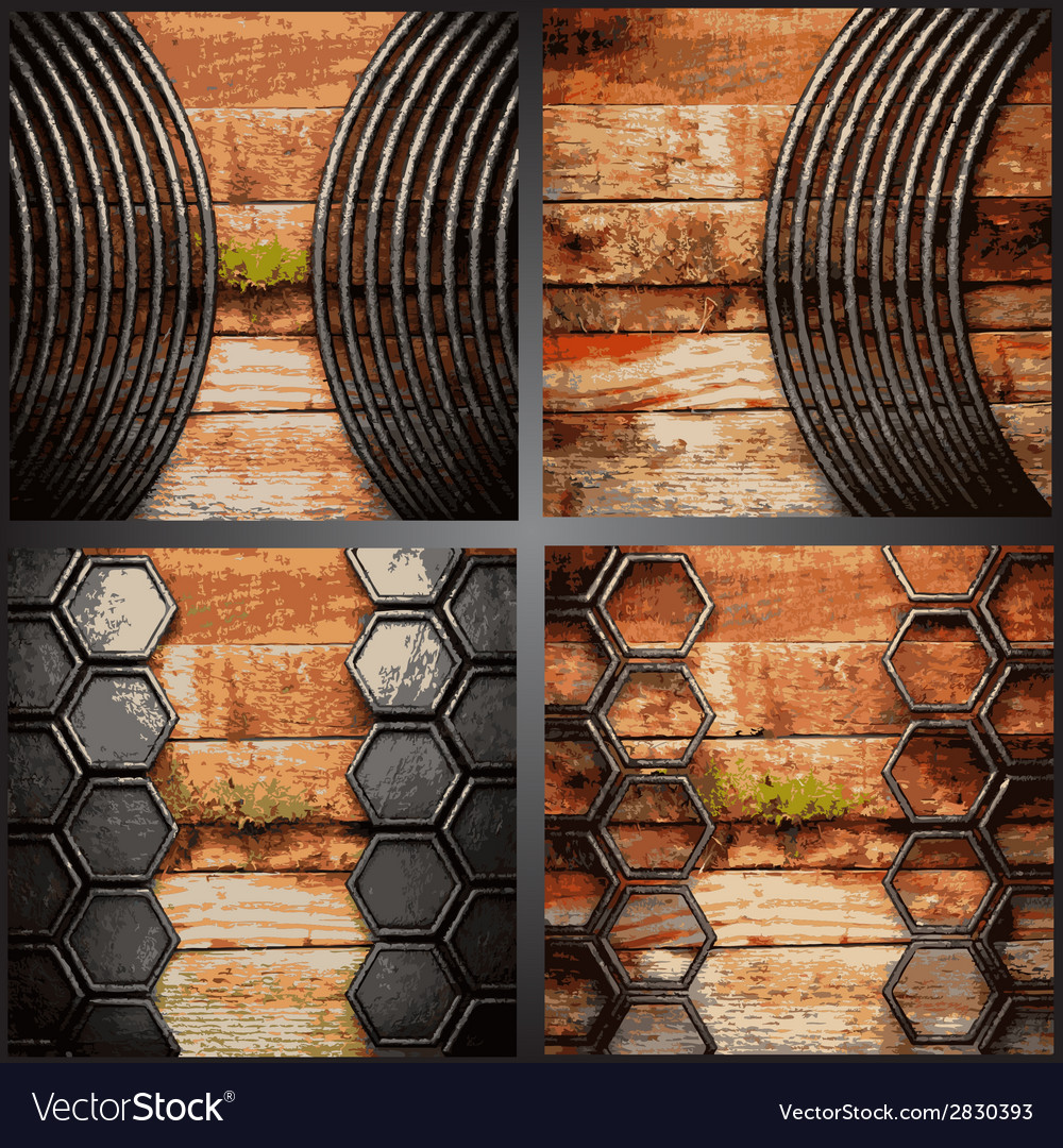 Wood and metal background set vector | Price: 1 Credit (USD $1)