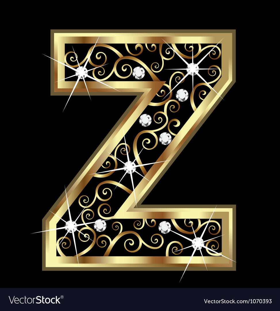 Z gold letter with swirly ornaments vector | Price: 1 Credit (USD $1)