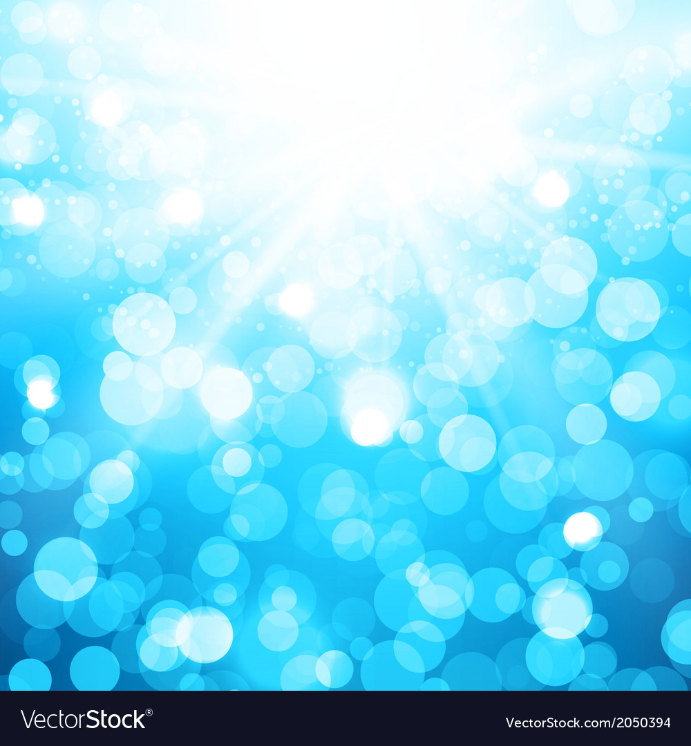 Blurred blue background with sun rays and bokeh vector | Price: 1 Credit (USD $1)