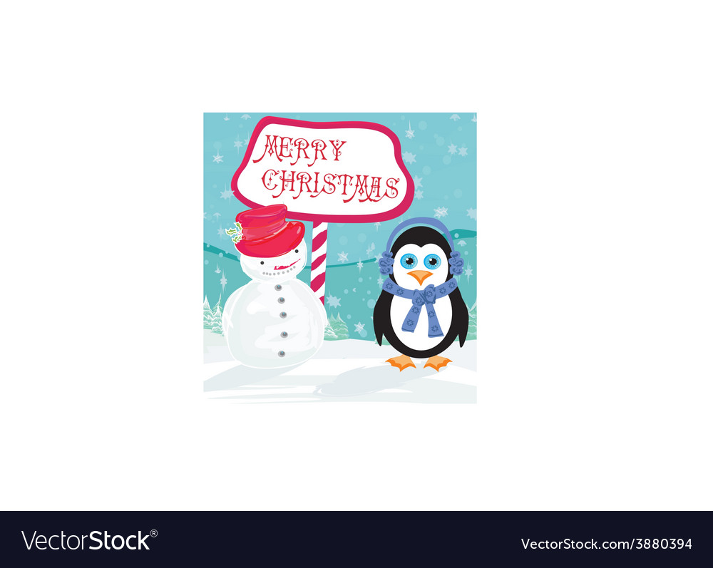 Christmas card with a penguin and snowman vector | Price: 1 Credit (USD $1)