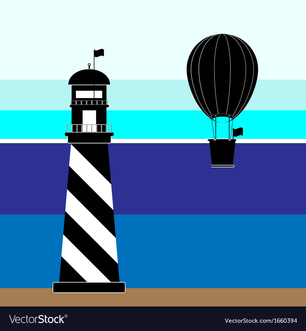 Create lighthouse and balloon scenery vector | Price: 1 Credit (USD $1)