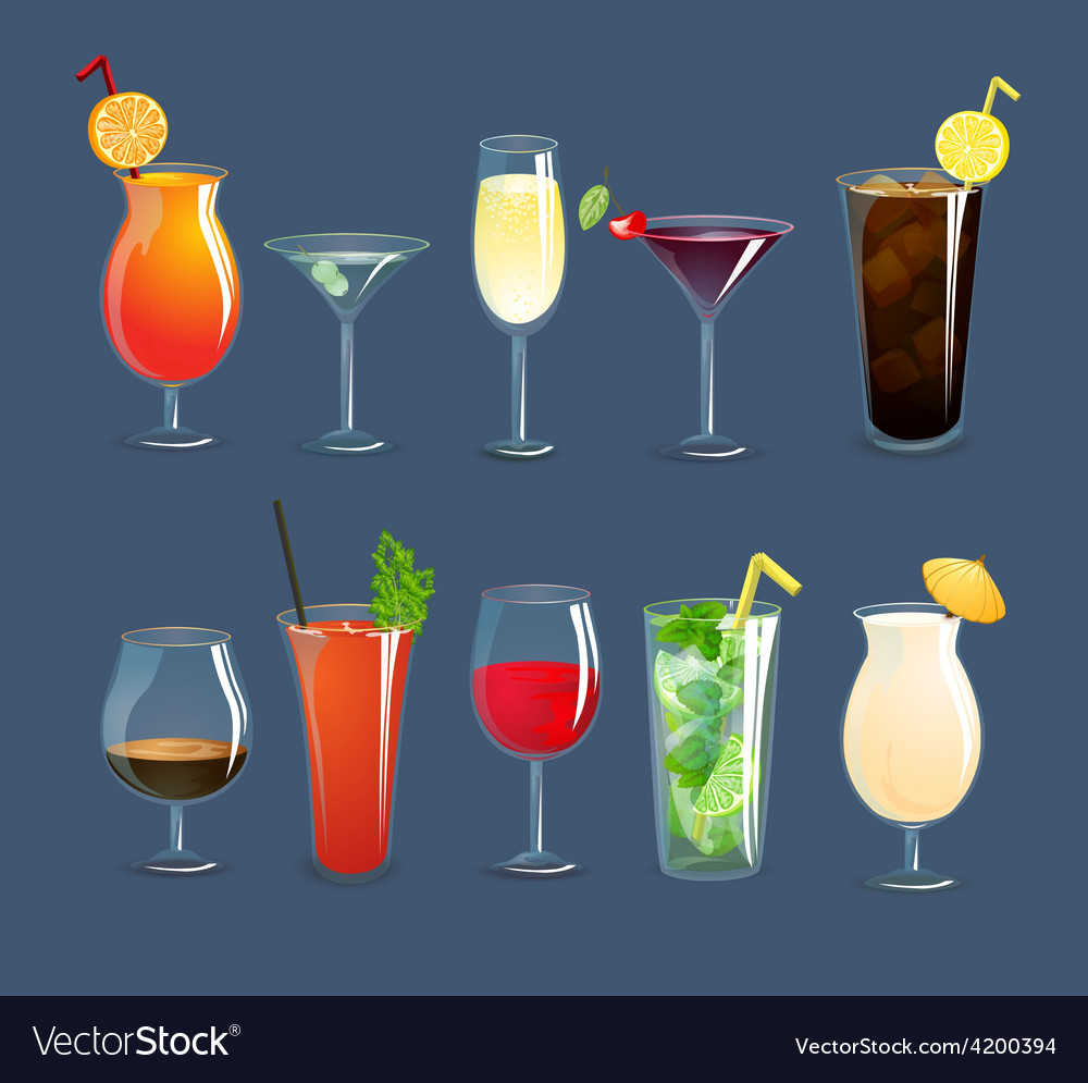 Drinks glasses set vector | Price: 1 Credit (USD $1)